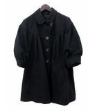ポールスミス ブラック Paul Smith BLACK 美品 Paul Smith BLACK ポールスミス ブラック ステンカラー フレア 七分袖 カシミヤ混 羊毛 ラムウール コート 44L ブラック