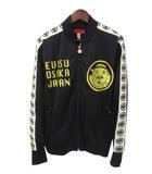 エヴィス EVISU EVISU エヴィス yamane ヤマネ 紋章 ライン ロゴ カモメ えべっさん 刺繍 ジップアップ トラック ジャケット ジャージ 42 ブラック ゴールドカラー