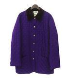 エルメス HERMES 美品 HERMES エルメス 刺繍 デザイン セリエ ボタン 中綿 ステンカラー コート 40 パープル ブラウン