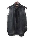 ヌメロヴェントゥーノ N°21 美品 N°21 ヌメロヴェントゥーノ リボン ラメ ストライプ シースルー ノースリーブ プルオーバー シルク ブラウス 38 ブラック