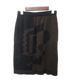 フェンディ FENDI 美品 FENDI フェンディ 総柄 イージーウエスト ウール ニット タイト スカート 44 ブラウン ブラック