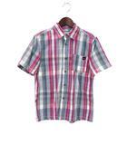 ティンバーランド Timberland 子供服 Timberland ティンバーランド チェック柄 半袖 ロゴ 刺繍 シャツ 140 グレー ピンク