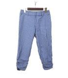 インディヴィ INDIVI INDIVI インディヴィ チェック柄 シャーリング デザイン クロップド丈 パンツ 40 ブルー
