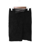 ドゥーズィエムクラス DEUXIEME CLASSE DEUXIEME CLASSE ドゥーズィエムクラス シンプル ベルト付 ひざ丈 スウェード ゴーストレザー ヤギ革 スカート 36 ブラック