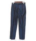 グッチ GUCCI GUCCI グッチ 201-0360-7002 センタープレス 光沢 シルク スラックス パンツ 42 ダークブルー