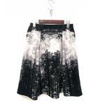 イネド INED INED イネド 総柄 フレア スカート 9 ブラック ホワイト