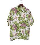 サンサーフ 東洋 SUN SURF アロハ シャツ L 16-16 1/2 グリーン ホワイト 半袖 リーフ プリント