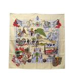 エルメス HERMES AU FIL DE LA SOIE スカーフ シルク カレ 90 絹糸の赴くままに 美品 ★AA☆