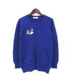 ネネット Ne-net ニット セーター 2 M 青 ブルー ウール 長袖 ワンポイント 刺繍 NE13KN015