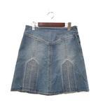 マークジェイコブス MARC JACOBS デニム スカート 4 S インディゴ コットン サイドジップ ロゴ 刺繍 シンプル