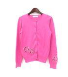 ビアッジョブルー Viaggio Blu アンサンブル 2 M ピンク コットン 花 刺繍 ビース 装飾 長袖 カーディガン 半袖 ニット