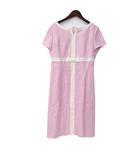 エムズグレイシー M'S GRACY ワンピース 40 L ピンク ホワイト リネン混 半袖 ひざ丈 リボン キーネック