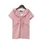 エムズグレイシー M'S GRACY カットソー 40 L ピンク 半袖 フリルカラー リボン