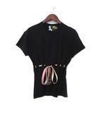 フェンディ FENDI Tシャツ TU 黒 ブラック 半袖 リボン カットソー 美品