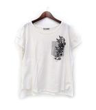 ザラ ZARA Tシャツ S 白 ホワイト 半袖 装飾