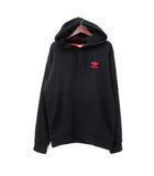 アディダス adidas パーカー S 黒 ブラック コットン 長袖 刺繍 fh7887