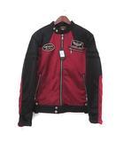 バンソン VANSON シングル ライダース ジャケット XL ブラック ワインレッド ボンディング フライングスカル 刺繍 裏起毛 ABV-307