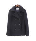 ナチュラルビューティーベーシック NATURAL BEAUTY BASIC Pコート ピーコート S 紺 ネイビー ウール 無地 シンプル