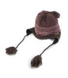コロンビア Columbia ニット帽 ニットキャップ 帽子 S 茶 ブラウン ウール 総柄 ぼんぼん 耳あて付 美品