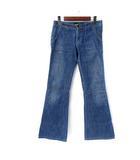 アールジーン Earl Jean デニム パンツ 25 XS インディゴ コットン 無地 シンプル ブーツカット ボタンフライ ジーンズ