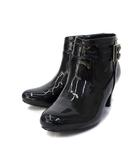 ブリジットバーキン Bridget Birkin レイン ショート ブーツ 24cm 黒 ブラック エナメル ラウンドトゥ スタック ヒール 554104