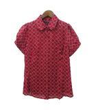バナナリパブリック BANANA REPUBLIC シャツ S 赤 レッド シルク 半袖 総柄