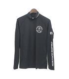パーリーゲイツ PEARLY GATES Tシャツ 5 L 黒 ブラック ナイロン 長袖 ロゴ プリント ハイネック ゴルフウェア
