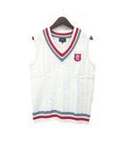 ベスト 5 L 白 ホワイト ポリエステル ニット Vネック ロゴ 刺繍 ゴルフウェア