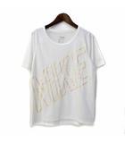 ナイキ NIKE Tシャツ S 白 ホワイト ポリエステル 半袖 ロゴ プリント メッシュ 切替 スポーツウェア DRIFIT AH4862-100