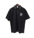 カステルバジャック CASTELBAJAC ポロシャツ L 黒 ブラック コットン 半袖 刺繍 ゴルフ ウェア