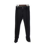 ラシュッド LA SUD ストレッチ パンツ 9 M 黒 ブラック ポリエステル シャーリング レオパード 裾ジッパー