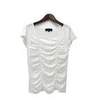 アンタイトル UNTITLED Tシャツ カットソー 2 M 白 ホワイト 半袖 ギャザー 美品