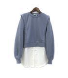 イング INGNI スウェット シャツ M ブルー ホワイト 長袖 レイヤード デザイン 美品