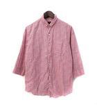 シップスジェットブルー SHIPS JET BLUE シャツ M ピンク リネン混 七分袖 花柄 ワイヤー入り
