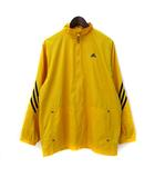 アディダス adidas ナイロン ジャケット 170 黄 イエロー ロゴ 刺繍 ライン ジップアップ
