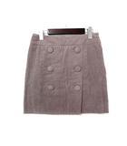 ウィムガゼット Whim Gazette スカート 36 S ピンク グレー コーデュロイ ダブル ボタン タイト 美品
