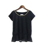 ルゥデルゥ Rew de Rew Tシャツ カットソー 38 M 紺 ネイビー ポリエステル 半袖 ボーダー ペプラム