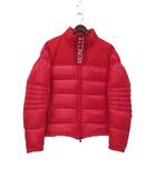 モンクレール MONCLER BRUEL ブリュエル ダウン ジャケット TG 4 赤 レッド ロゴ 刺繍 ジップアップ E20914182685 68950 美品