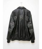 シュプリーム SUPREME 2018SS Studded Arc Logo Leather Jacket スタッズ ロゴ レザー ジャケット サイズL ブラック【ブランド古着ベクトル】【中古】190517☆AA★