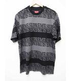 シュプリーム SUPREME 19SS Text Stripe Jacquard S/S Top 半袖 ロゴ Tシャツ 黒 Black M【ブランド古着ベクトル】【中古】190615☆AA★060