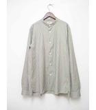 アクネ ストゥディオズ Acne Studios ピンストライプバンドカラーシャツ 46【ブランド古着ベクトル】【中古】191023
