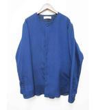 エトセンス ETHOSENS 15SS ジャガード ノーカラー シャツ ジャケット E115-205 Blue ブルー 3【ブランド古着ベクトル】【中古】200306