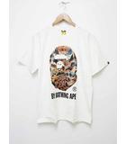 アベイシングエイプ A BATHING APE 希少 BIG APE HEAD TEE 迷彩 シャツ 柄 ビッグ ヘッド Tシャツ M サイズ ホワイト【ブランド古着ベクトル】【中古】200602