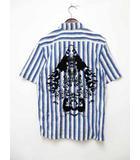 グリフィン GRIFFIN イタリア製 ストライプ グラフィックプリントシャツ 半袖 S【ブランド古着ベクトル】【中古】200804★