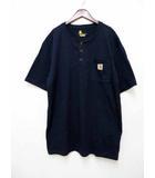 カーハート carhartt 半袖ヘンリーネックポケットTシャツ ネイビーL 【ブランド古着ベクトル】【中古】200804★