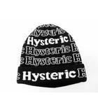 ヒステリックグラマー HYSTERIC GLAMOUR 未使用品 ロゴ 総柄 ニット帽 帽子 黒 ブラック 【ブランド古着ベクトル】【中古】 201015 ★
