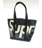 シュプリーム SUPREME 20SS Raffia Tote Bag Black ラフィア ロゴ トートバッグ ブラック 【ブランド古着ベクトル】【中古】210110☆AA★