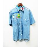ブルーブルー BLUE BLUE パッチワーク デニム 半袖 シャツ 1 ブルー【ブランド古着ベクトル】【中古】 210330 ★
