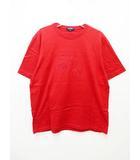 バーバリー BURBERRY 正規品 エンボス加工ロゴ 半袖Tシャツ RED /M【ブランド古着ベクトル】【中古】210419★