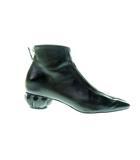 シャネル CHANEL Black Leather Short Ankle Boots スクエアトゥ バックジップブーツ 35【ブランド古着ベクトル】【中古】210429 130